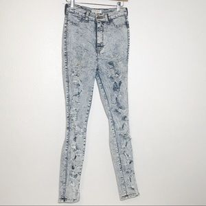 VIBRANT stone washed distressed skinny jeans
